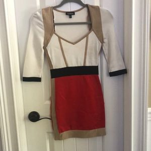 Bebe Small midi dress. Black, red, white and tan.